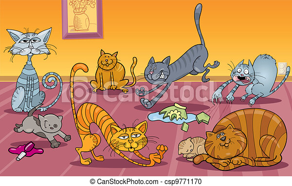 many cats at home - csp9771170