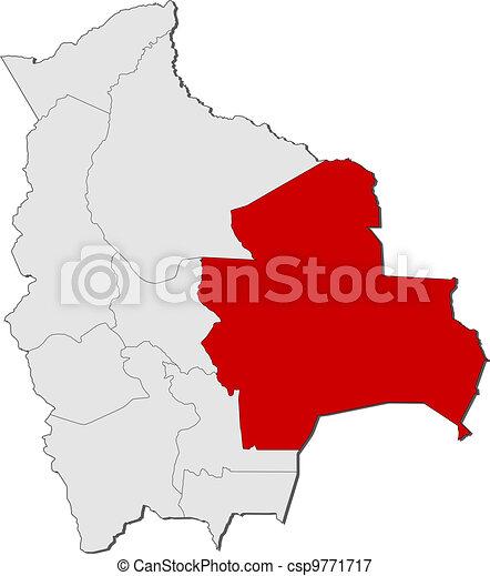 Map of Bolivia, Santa Cruz highlighted - csp9771717