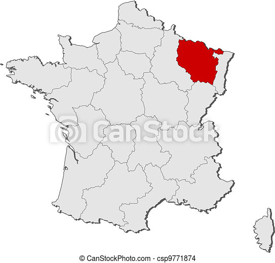 Map of France, Lorraine highlighted - csp9771874