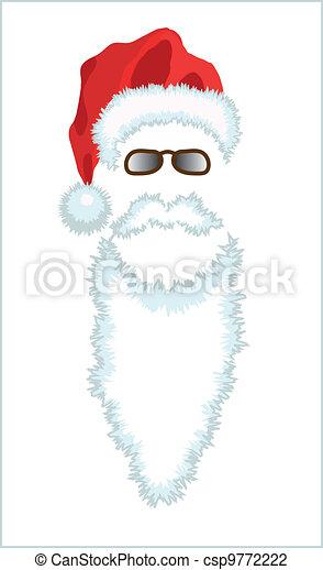 Red Santa Claus Hat, beard and glasses. - csp9772222