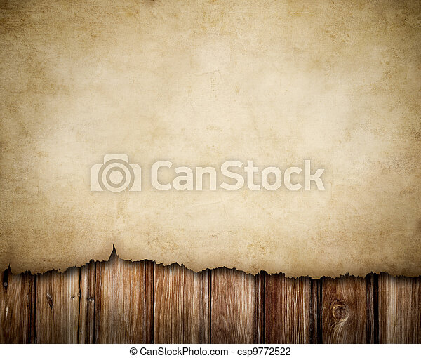 Grunge paper on wooden wall background - csp9772522