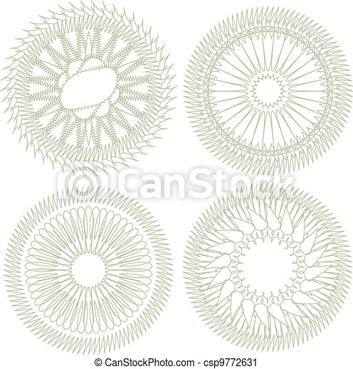 Vector set of guilloche rosette for decor and ornament - csp9772631