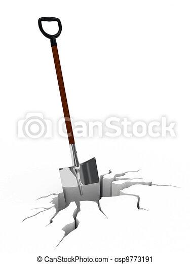 Shovel in surface crack - csp9773191