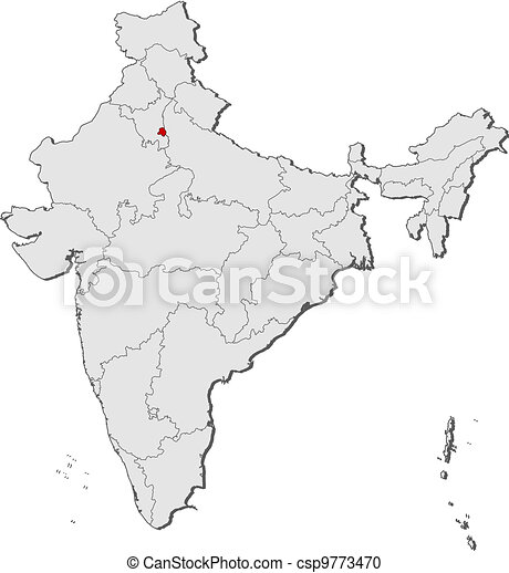 Map of India, National Capital Region highlighted - csp9773470