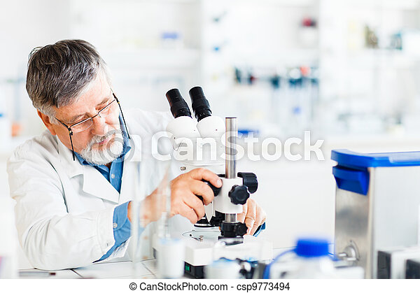 senior male researcher carrying out scientific research in a lab using a microscope (shallow DOF; color toned image) - csp9773494