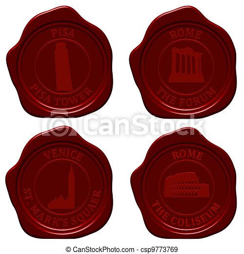 Italy sealing wax set - csp9773769