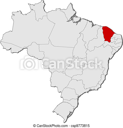 Map of Brazil, Ceara highlighted - csp9773815