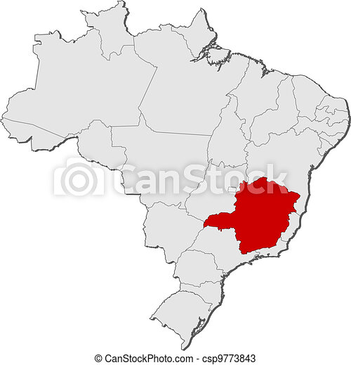 mapa, Brasil, Minas, Gerais, destacado - csp9773843