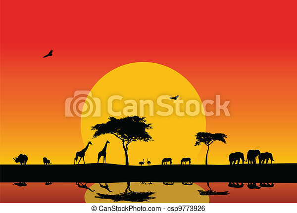 silhouette of wildlife in the lake - csp9773926