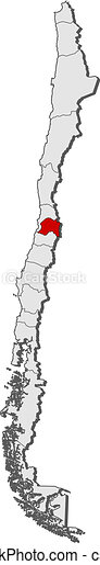 Map of Chile, Metropolitan Region highlighted - csp9774256