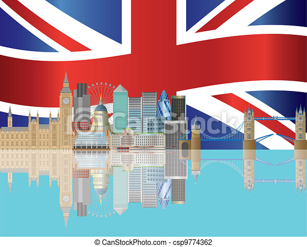 London Skyline with Union Jack Flag Illustration - csp9774362