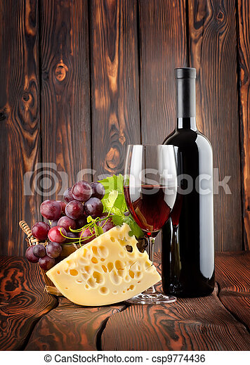 Red wine with cheese - csp9774436