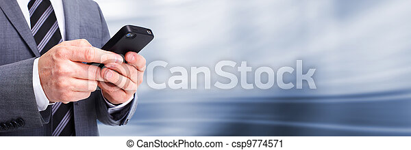 Businessman calling by phone. - csp9774571