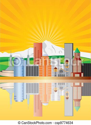 Portland Skyline at Sunrise Illustration - csp9774634