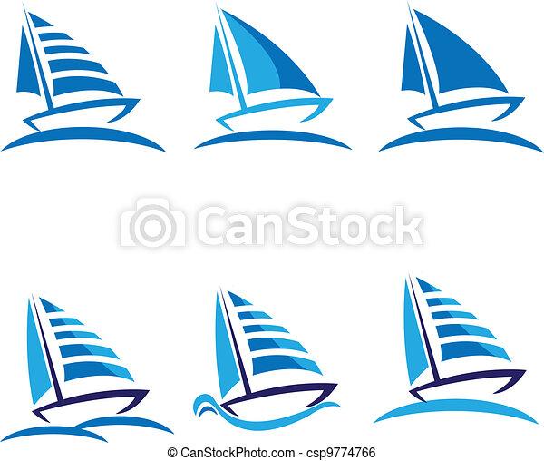 Set of boats vector logo design - csp9774766