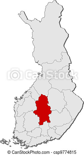 Map of Finland, Central Finland highlighted - csp9774815