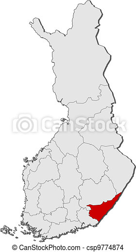 Map of Finland, South Karelia highlighted - csp9774874