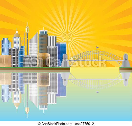 Sydney Australia Skyline with Sun Rays Illustration - csp9775012