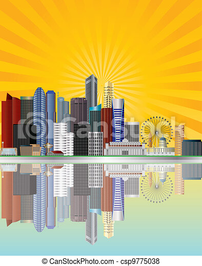 Singapore City Skyline with Sun Rays Illustration - csp9775038