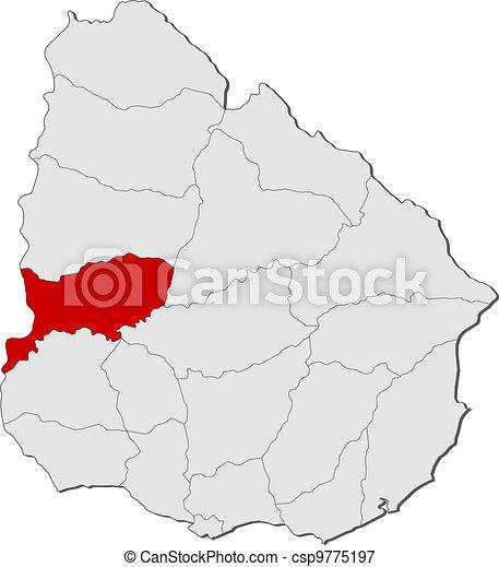 Map of Uruguay, Rio Negro highlighted - csp9775197