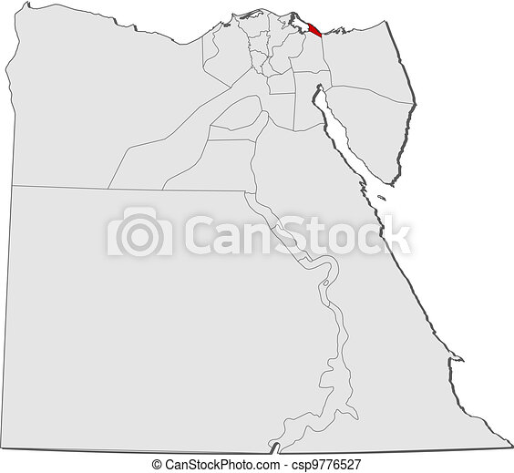 Map of Egypt, Port Said highlighted - csp9776527