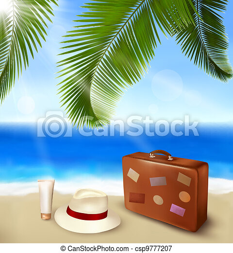 Seaside view with palm leaves - csp9777207