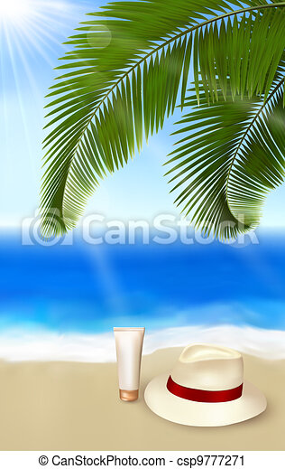 Seaside view with palm leaves - csp9777271