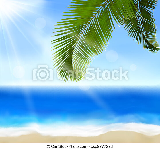 Seaside view with palm leaves  - csp9777273