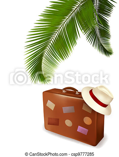 Seaside view with palm leaves - csp9777285