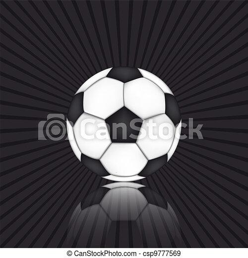 Soccer ball on black background - csp9777569