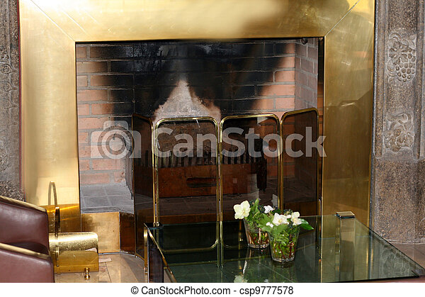 fireplace in the living room - csp9777578