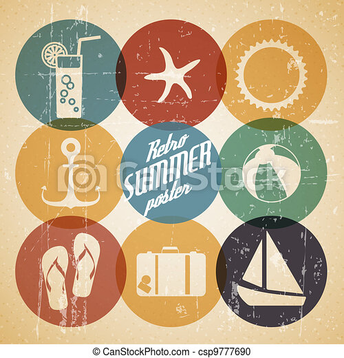 Vector summer poster made from icons - csp9777690