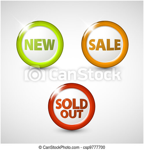 Vector round 3D icons for sale, new and sold out items - csp9777700