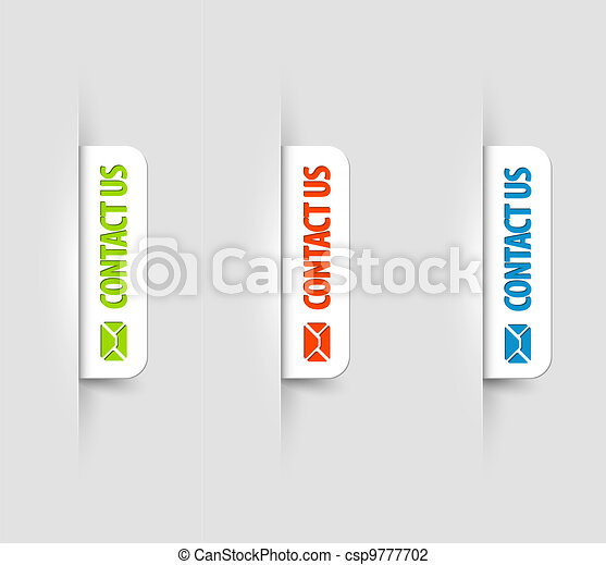 Vector white contact us Labels / Tags on the (web) page - csp9777702