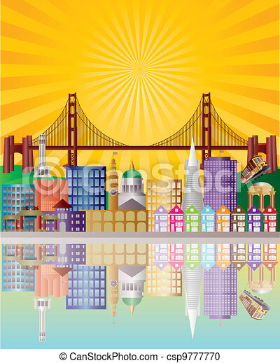San Francisco City Skyline at Sunrise Illustration - csp9777770