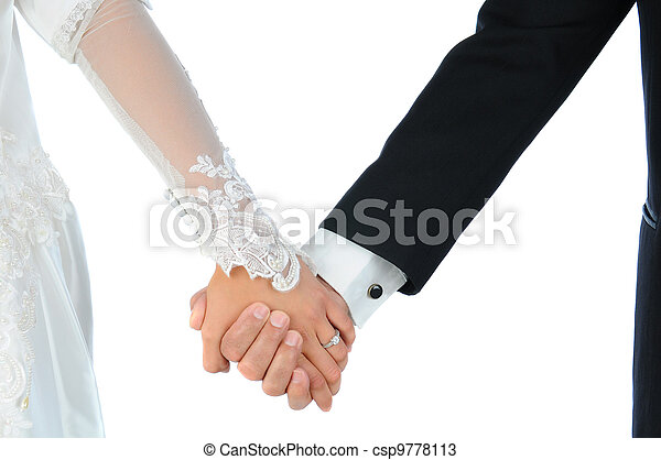 Closeup Wedding Couple Holding Hands - csp9778113