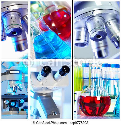 Scientific background collage. - csp9778303