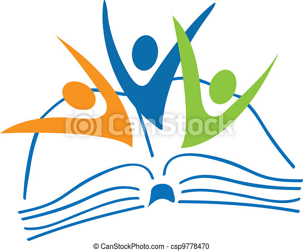 Open book and students figures logo - csp9778470