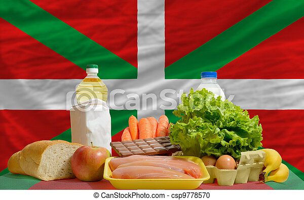 basic food groceries in front of basque national flag - csp9778570