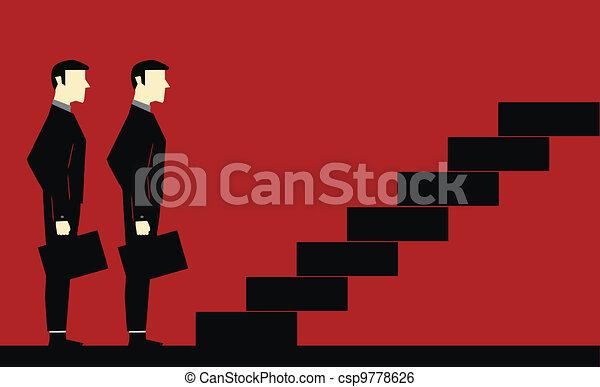 Waiting Businessman Stair - csp9778626