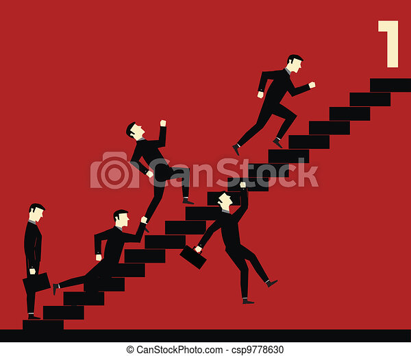 Businessman Stair Competition - csp9778630
