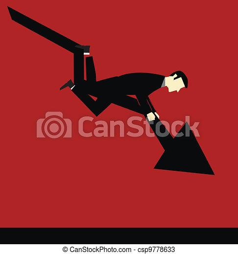 Businessman Falling Chart - csp9778633