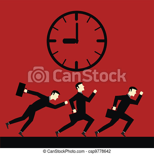 Businessman Running Time - csp9778642