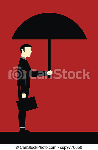 Businessman Umbrella Protect - csp9778650