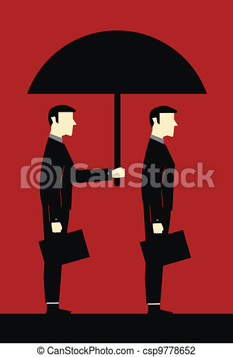 Businessman Umbrella Protecting Cli - csp9778652