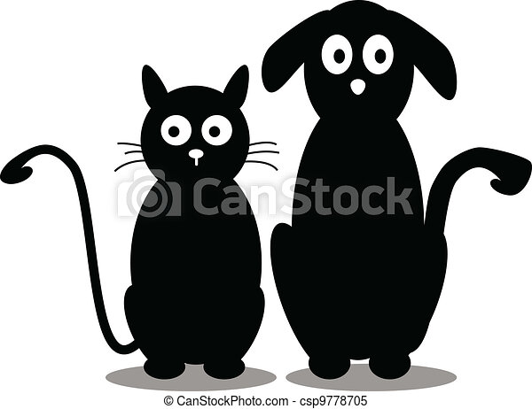 cat and dog silhouette - csp9778705
