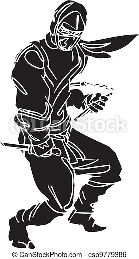 Ninja fighter - vector illustration. Vinyl-ready. - csp9779386