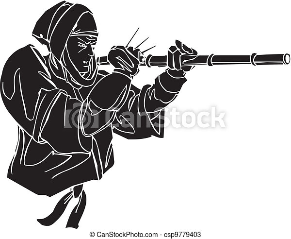 Ninja fighter - vector illustration. Vinyl-ready. - csp9779403