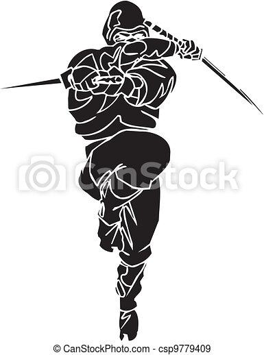 Ninja fighter - vector illustration. Vinyl-ready. - csp9779409