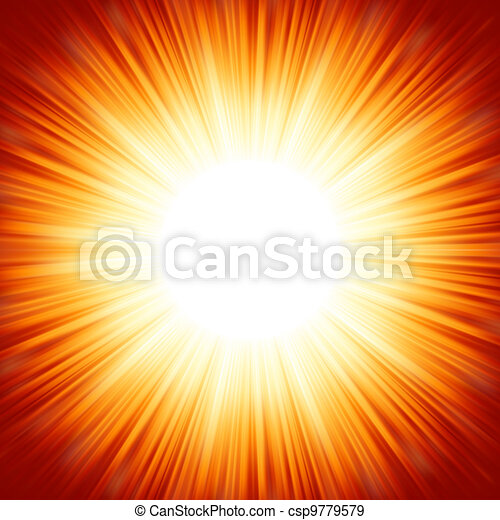 Centered red orange summer sun light burst. EPS 8 - csp9779579